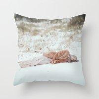 frozen Throw Pillows featuring Frozen by Jovana Rikalo