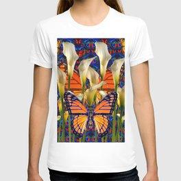 DECORATIVE WHITE CALLA LILIES & MONARCH BUTTERFLY GARDEN COLLAGE T-shirt