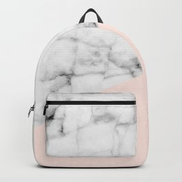 Real White marble Half Salmon Pink Backpack