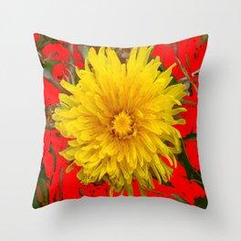 DECORATIVE  YELLOW DANDELION BLOSSOM ON ORGANIC RED ART Throw Pillow