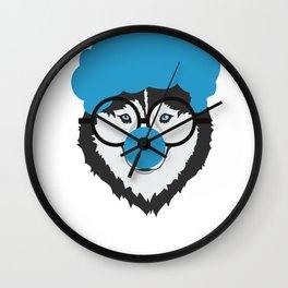 Alaskan Husky Dog Clown Face Halloween Wall Clock