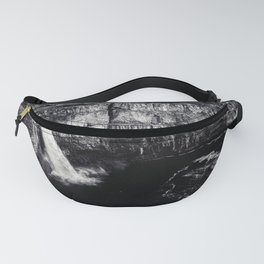 Hidden Waterfall Black and White Fanny Pack