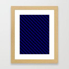 Navy Blue and Black Diagonal LTR Stripes Framed Art Print
