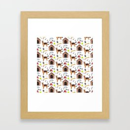 German Shepherd Dog Half Drop Repeat Pattern Framed Art Print