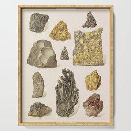 Vintage Gold Minerals Serving Tray