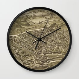 Vintage Pictorial Map of Scranton PA (1890) Wall Clock