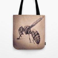 bee Tote Bags featuring Bee by Werk of Art