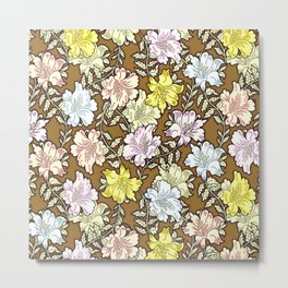 Abstract brown pink white modern floral pattern Metal Print