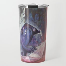 blue french bulldog in a paperboat Travel Mug
