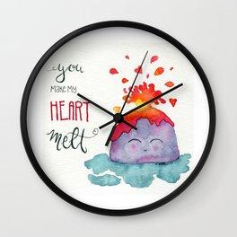 Volcano Heart Wall Clock