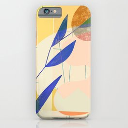 Shapes and Layers no.9 - Leaves and Grid iPhone Case