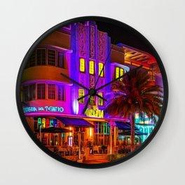 Marlin Hotel, South Beach Miami Florida Landscape Painting by Jeanpaul Ferro Wall Clock