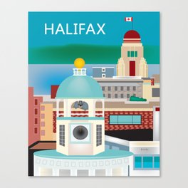 Halifax, Nova Scotia, Canada - Skyline Illustration by Loose Petals Canvas Print