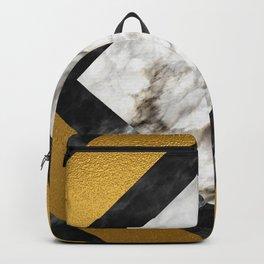 Gold foil white black marble #5 Backpack