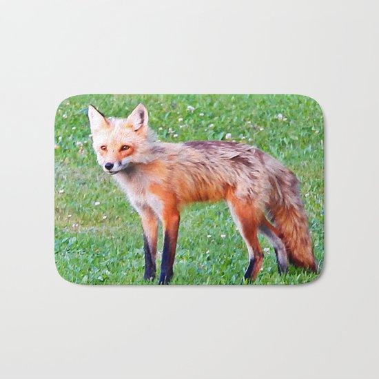 Red Fox in a Yard Bath Mat