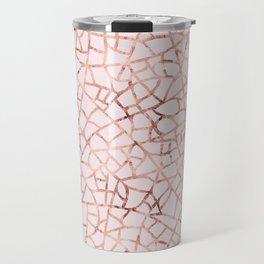 Crackle Rose Gold Foil Travel Mug