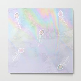 Holographic feather Metal Print