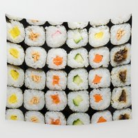 sushi Wall Tapestries featuring Sushi by Katieb1013