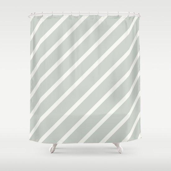 Stripe Diagonal Sea Salt Shower Curtain