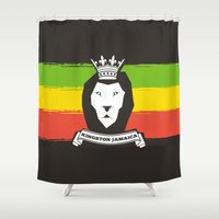 rasta Shower Curtains featuring Rasta Lion by Awesome
