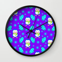 Cute smiling little baby penguins, blue knitted mittens, frosty snowflakes winter December pattern Wall Clock
