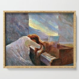 Lonely Redhead in Despair at the Beethoven Piano portrait painting by L. Balestrieri Serving Tray