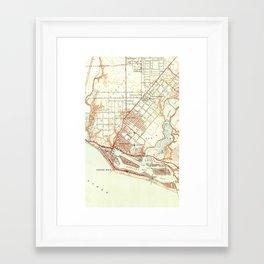 Vintage Map of Newport Beach California (1951) Framed Art Print