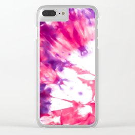 Modern Artsy Abstract Neon Pink Purple Tie Dye Clear iPhone Case