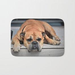 Bulldog waiting for family Bath Mat