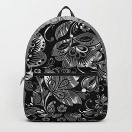 Metallic Silver Vintage Damasks Pattern Backpack