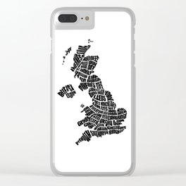 United Kingdom Word Map - Black and White Clear iPhone Case
