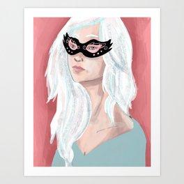 Girl in Mask Art Print