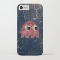 pac man iPhone & iPod Cases featuring Pac-Man Pink Ghost by Psocy Shop