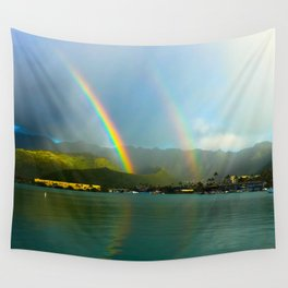 Hawaii Double Rainbow Wall Tapestry