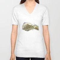 animal skull V-neck T-shirts featuring animal skull by jenni leaver