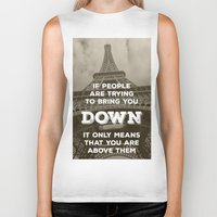 eiffel Biker Tanks featuring Eiffel tower by Solar Designs