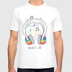 Music Mens Fitted Tee White MEDIUM