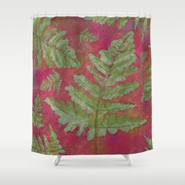 Fern Leaves in Watercolor and Pencil on Red Shower Curtain