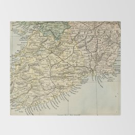 Vintage and Retro Map of Southern Ireland Throw Blanket