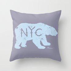 Polar Bear NYC aka Polar Opposites Throw Pillow