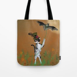Cat Walking His Bat Tote Bag