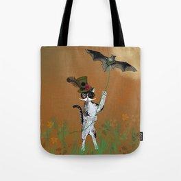 Cat Walking His Bat Tote Bag