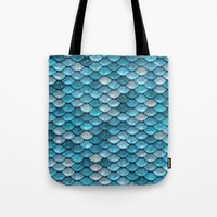 bisexual Tote Bags featuring light turquoise sparkling scales by Better HOME