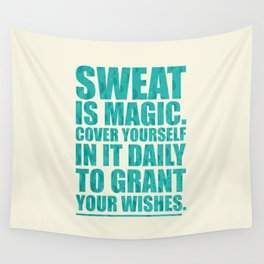 Lab No. 4 - Sweat Is Magic Cover Yourself In It Daily Gym Inspirational Quotes Poster Wall Tapestry