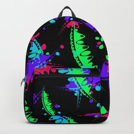 Pattern of bright leaves and petals of garden plants in childrens colors on a black background. Backpack