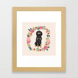 coonhound dog floral wreath dog gifts pet portraits Framed Art Print