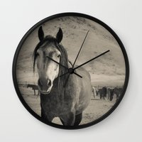 mustang Wall Clocks featuring mustang by Michelle Elizabeth