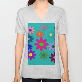 Flower Power - Teal Background - Fun Flowers - 60's Style - Hippie Syle Unisex V-Neck
