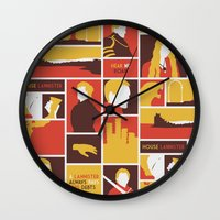 lannister Wall Clocks featuring House Lannister by Jack Howse
