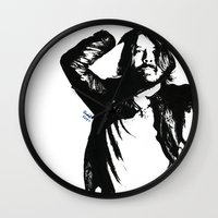 dave grohl Wall Clocks featuring Dave Grohl (1) by Carolyn Campbell